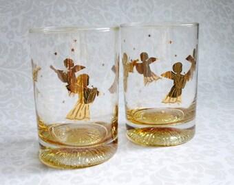 Vintage Culver Angel Barware Glasses  /  Mid Century Gold Angels Glassware  / Culver Barware Rocks Glasses