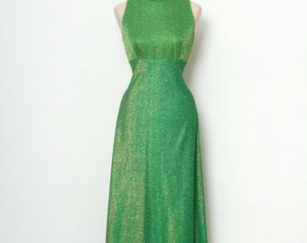 Vintage Dress / 60s Dress / Green & Gold Dress / 2 pc Dress / 70s dress / Maxi Dress /Size L , XL /  2 Pc Outfit