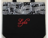 Treble Clef Personalized Music book bag Medium black canvas tote choir piano symphonic band orchestra student music major recital gift idea