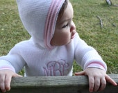 PERSONALIZED Hooded Baby Sweater with Pink Trim