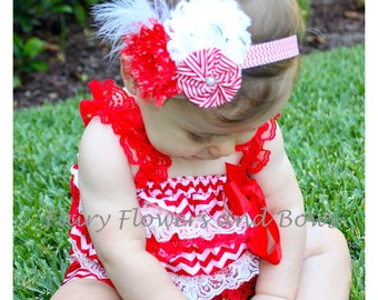 SALE......HOLIDAY Romper and Headband Set....Candy Cane Romper  (Infant, Toddler)  Photo Prop