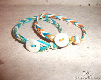 Custom Hemp Bracelets - Vintage Button Closure - Handmade
