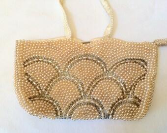 La Regale Pearl Beaded Wristlet Handbag