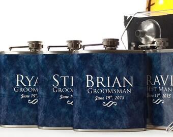 5, Groomsmen Gift, Custom Flask Gift Sets, 6oz Blue Flasks for Groomsmen and Best Men