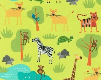 Jungle Friends in Bermuda AED-15057-237 - JUNGLE PARTY by Edward Miller - Robert Kaufman Fabric - By the Yard