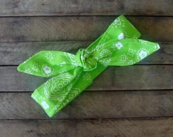 Headband Lime Green Bandanna Girls Teen Women Bandana Hair Accessory Headscarf Hairband