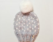 Slouchy Hat Beanie Knit Fair Isle Pom Pom Hat Faux Fur Chunky Knitted Winter Cap // The Caribou