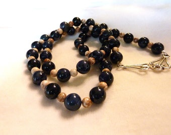 Dumortierite Crazy Lace Agate Gemstone Necklace - 27 Inches