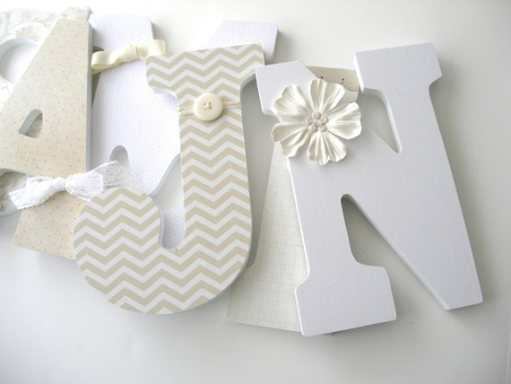 White and Cream Custom Wood Nursery Letters - Name Décor - Neutral Decorations - Unisex Bedroom - Hanging Wood Wall Art