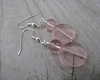 Pale Pink Beaded Earrings