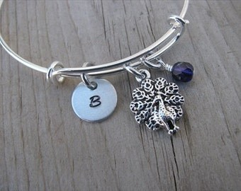 Peacock Bangle Bracelet- Adjustable Bangle Bracelet with Hand-Stamped Initial, Peacock Charm, and accent bead- Hand-Stamped Bracelet