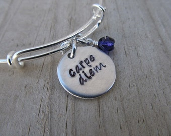 "Carpe Diem Bracelet- Inspiration Bracelet- Hand-Stamped ""carpe diem"" Bracelet with an accent bead in your choice of colors"