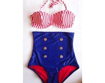 Extra High Waist Bikini Two Piece Swimsuit XS-XXL Underwire Bikini Retro Bikini Plus Size Swimsuit high waist bikini