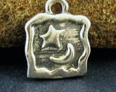 STERLING SILVER Moon Charm - The Moon and Stars Above - Rustic Square Small Pendant  C169