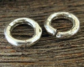 Sterling Silver Artisan OPEN Jump Rings or Links in  - 12mm or 1/2 Inch 11 Gauge 2 PC  AC186