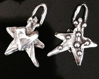 Artisan Sterling Silver Star Charms  - Rustic  and Hand Crafted - 2 Reversible Charms with Hearts and Dots  - AC25
