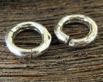 2 Sterling Silver Artisan OPEN Jump Rings or Links in  - 12mm or 1/2 Inch 11 Gauge - AC186