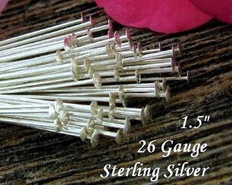Thin Head Pins - Sterling Silver Flat Headpins  26 Gauge - 1.5 inch 37mm  50 pcs- HP2a