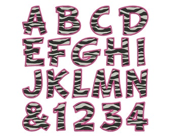 Pink Zebra Print Alphabet & Numbers - Machine Embroidery - Instant Digital Download