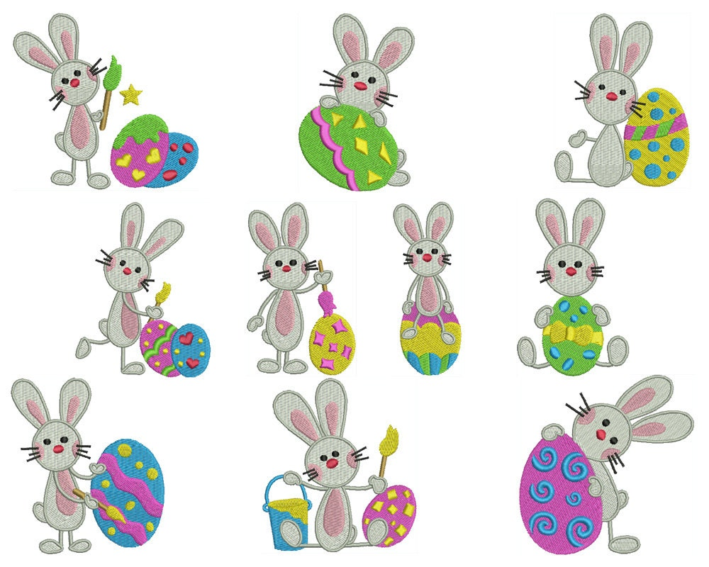 Easter bunny machine filled embroidery instant digital