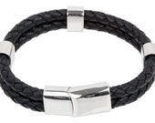 "Mens Leather Bracelet - Black Double Braided Bolo Leather Bracelet with beads Stainless Steel Magnetic Lock 8"", B0009BLK NEW!"