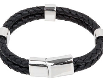 """Mens Leather Bracelet - Black Double Braided Bolo Leather Bracelet with beads Stainless Steel Magnetic Lock 8"""", B0009BLK NEW!"""