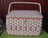Vintage JC Penny Pink Plaid Gingham Wicker Sewing Basket With Sewing Supplies