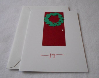 Handmade Christmas card, Wreath Christmas Card, Hand Stamped joy Christmas card with die cut wreath and matching envelope