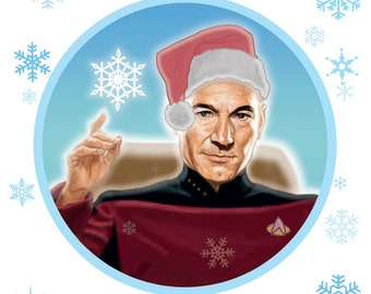 Picard Star Trek Christmas Card