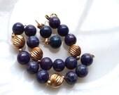 Lapis Lazuli 14K Gold Bead Bracelet Post Earrings Set