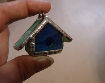 Mini Stained Glass Bird House