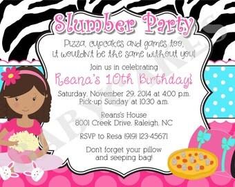 Slumber Party Sleepover birthday invitation invite pajama party Choose your girl, DIY printable Digital