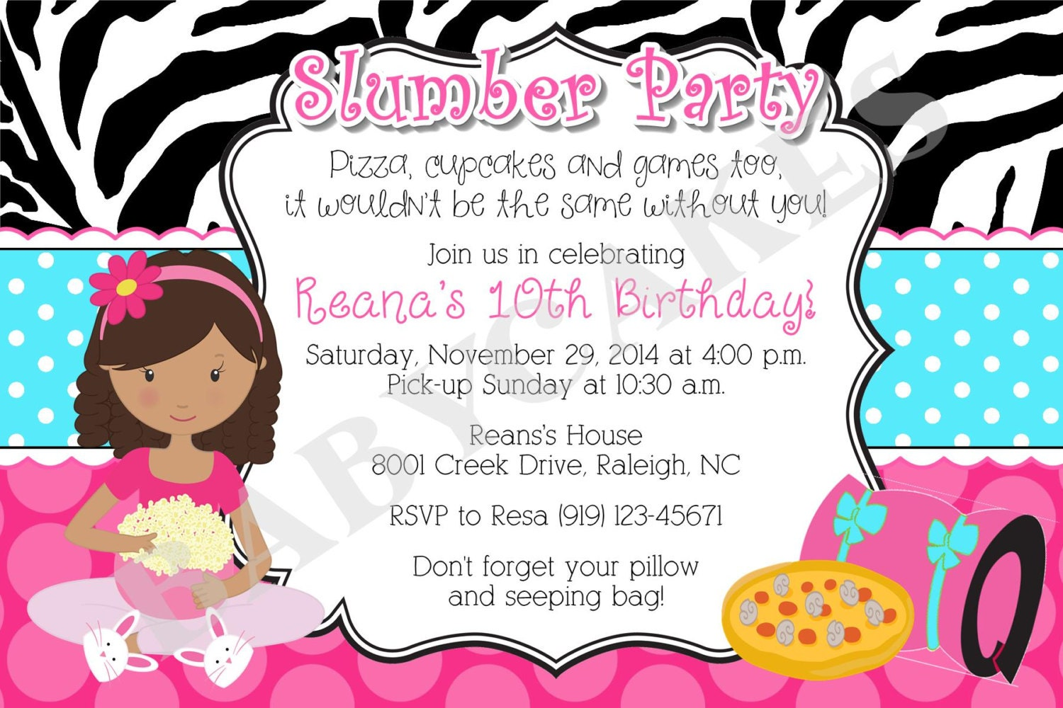zebra sleepover slumber party sleepover birthday invitation invite pajama party choose your girl diy printable digital