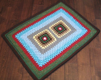 Too Square Green & Blue Rug / Floor Mat 36x26