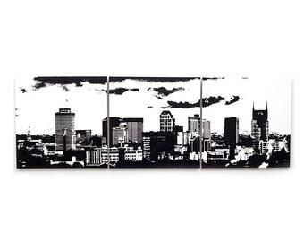 Nashville Skyline Wall Art: 3 Piece Triptych (Various Color Options) 3 x 1 Foot Cityscape Screen Print & Painting, Large Nashville Decor