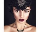 Crystal Necklace Trio Draped Necklace Vintage Style Black Gray Crystal