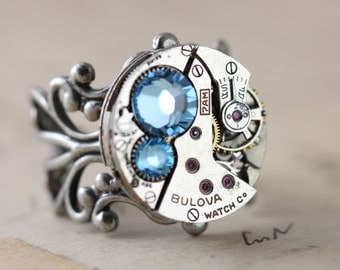 Steampunk Ring Aquamarine Ring Unique Ring Steampunk Gift Blue March Birthstone Ring Steam Punk Jewelry Round Ring Filigree Ring Crystal