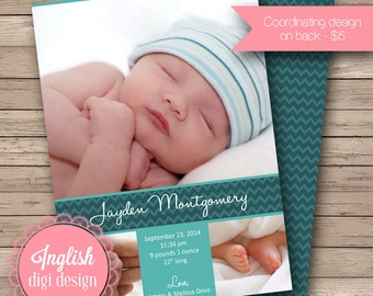 Chevron Birth Announcement, Chevron Baby Photo Announcement, Printable Chevron Baby Announcement Card in Teal and Turquoise