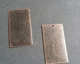 Metal Stamping Blanks Blank Charms Rectangle Blanks Copper Blanks Blank Pendants Hand Stamping Blank Brass Blanks Rectangle Pendants 4 pcs