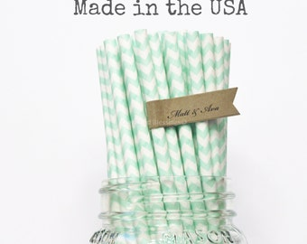Mint Green Paper Straws, 100 Pastel Green Chevron Straws, Rustic Wedding, Table Setting Baby Shower, Vintage Party, Made in USA, Paper Goods