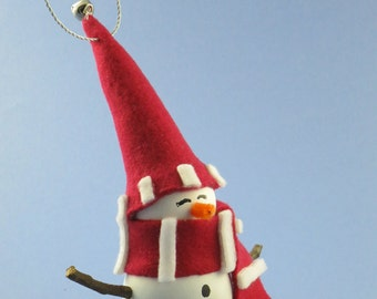 Ornament: Wooden Snowman with Red and White Stripped Hat and Scarf with Jingle Bell