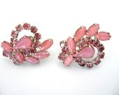 Vintage Pink Moonglow Glass Cabochon and Rhinestone Earrings