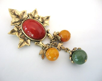 Vintage Red Cabochon Brooch With Dangling Charms and Marbled Beads