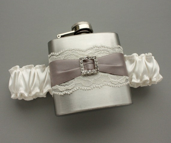 Rhinestone Buckle FLASK GARTER -- Ivory and Gray - Bridal Garter with Flask - Bridal Shower, Bachelorette Party, Bridesmaids - Ready to Ship