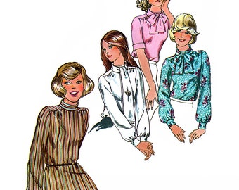 Simplicity 6625 Vintage 70s Misses' Blouse and Scarf Sewing Pattern - Uncut - Size 10 - Bust 32.5