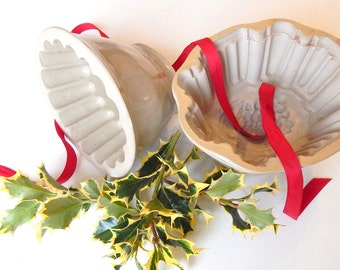 Pair of  Stoneware Pudding Moulds, One French, One English