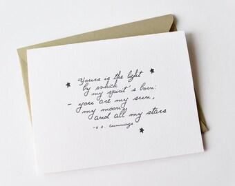 My Sun, Moon And All My Stars Letterpress Card