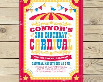 Carnival Invitation Printable - Circus Birthday Party - Carnival Birthday Invitation - Circus Invitation - Girl Birthday Party