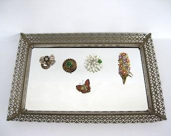 Vintage Vanity Mirror Tray Rectangular Bronze Ornate Gold Metal Filigree