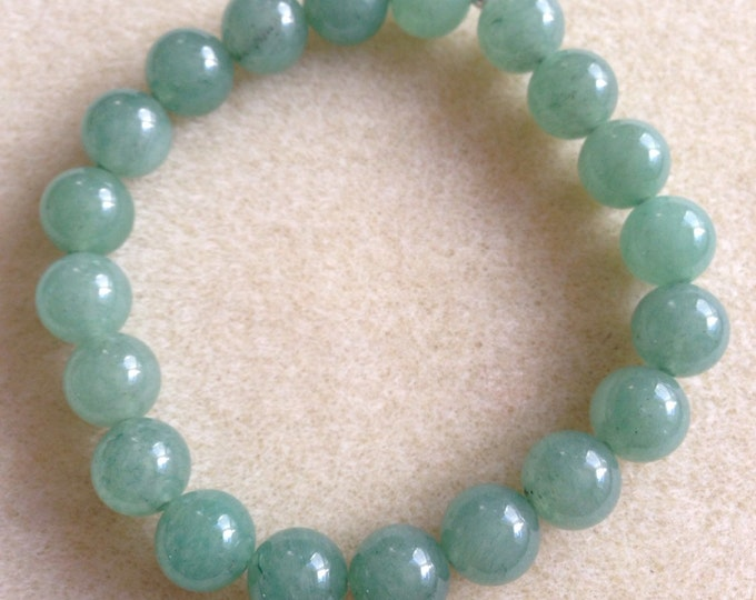Green Aventurine 10mm Round Stretch Bead Bracelet with Sterling Silver Accent
